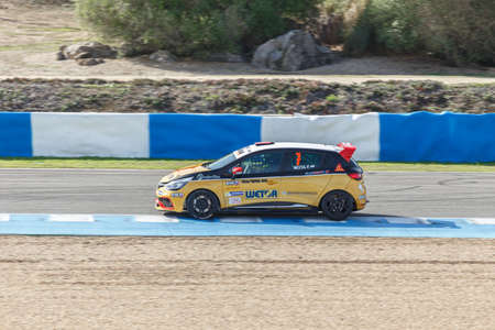 JEREZ DE LA FRONTERA, SPAIN - OCTOBER 19, 2014: Fabio Mota of Lema Racing Team  drives his car during qualifying session at Jerez racetrack