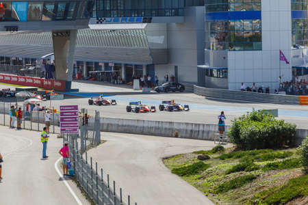 JEREZ DE LA FRONTERA, SPAIN - OCTOBER 19, 2014: Drivers fighting at the start of the Formula Renault 3.5 race at Jerez racetrack