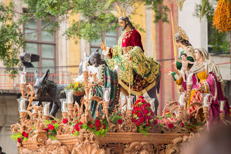 Jesus Christ riding on a donkey on palm sunday (easter week). Heavy figure that is moved by manpower during a procession. Typical of Easter, Holy Week in Spain.
