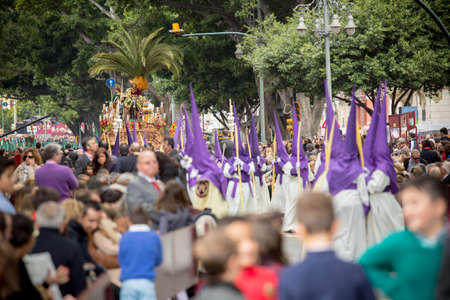 MALAGA, SPAIN - MARCH 20: Traditional processions of Holy Week in the streets on March 20, 2016 in Malaga, Spain. Palm Sunday procession (Pollinica).