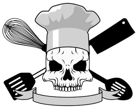 danger: Death and Cooking - black and white
