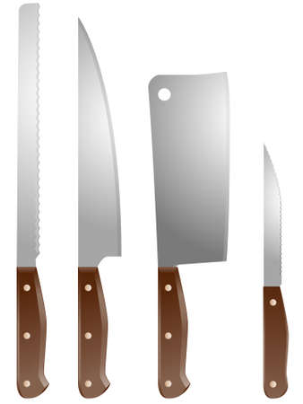 Set of four vector kitchen knives Vector