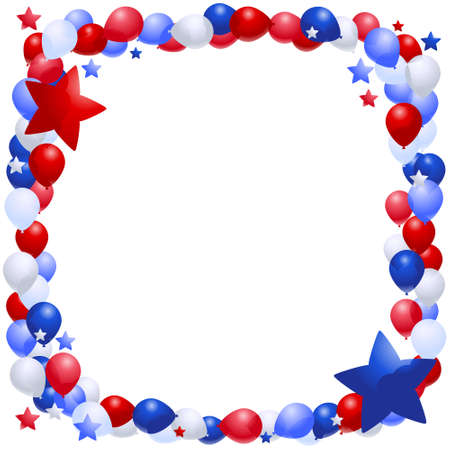 Frame of patriotic vector balloons and stars