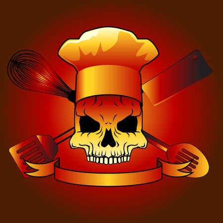 skull with utensils vector design Vector
