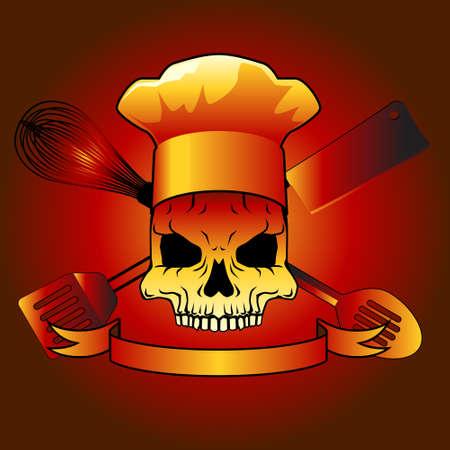 slotted: skull with utensils vector design