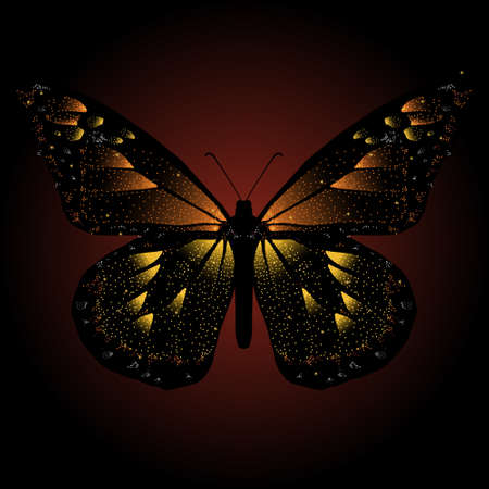 fiberoptic: Glittering, stylized monarch butterfly Illustration