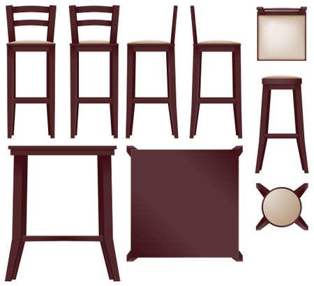 sgabelli: Cherry bar collezione di mobili - vettore Vettoriali
