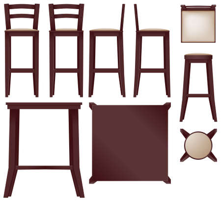 Cherry bar furniture collection - vector Çizim