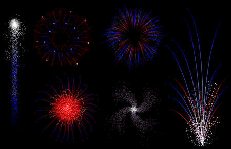Red white and blue isolated vector fireworks Vector