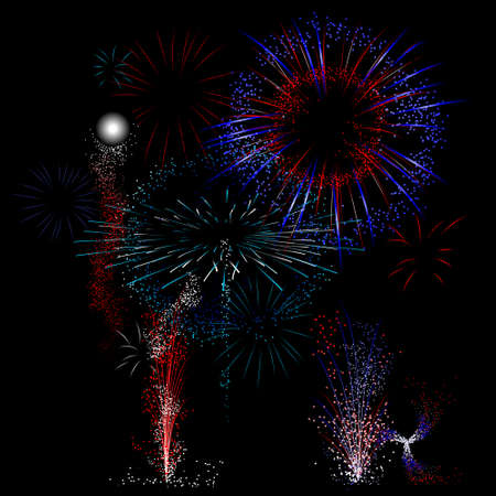 Vector Fireworks background - red white and blue