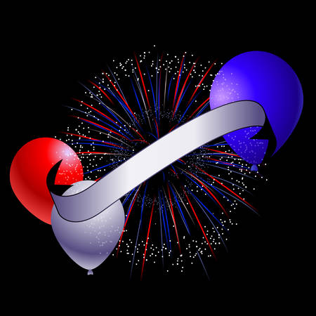 Banner with vector fireworks and balloons Vector