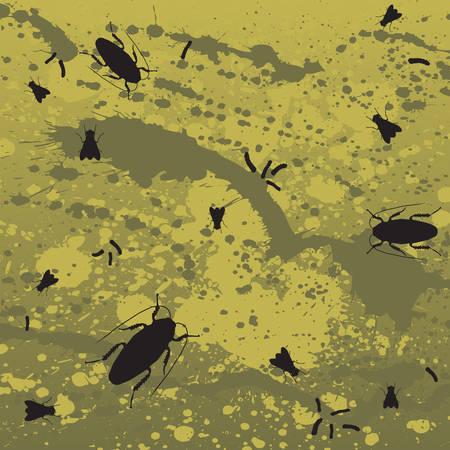 Flies, roaches and maggots in splatter Vector