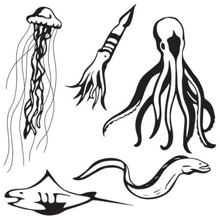 Gestileerde zee dieren