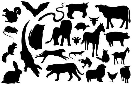 silhouettes: miscellaneous vector animal silhouettes Illustration