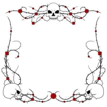Skulls and roses Vector