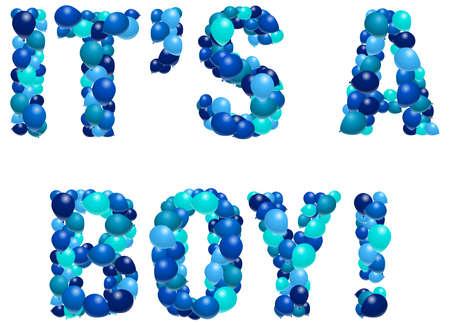 Boy birth announcement in balloons