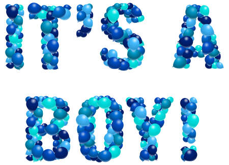 Boy birth announcement in balloons Vector