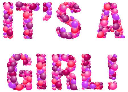 Girl birth announcement in balloons 일러스트