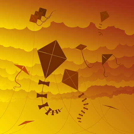 gale: Kite sunset Illustration