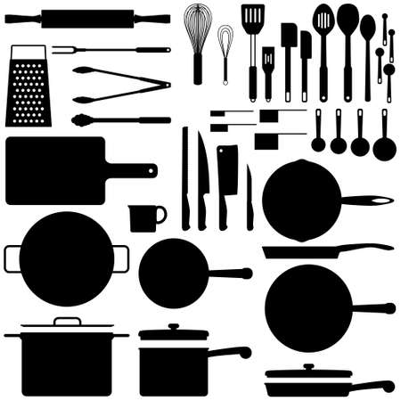 tongs: Kitcehn utensil silhouettes Illustration