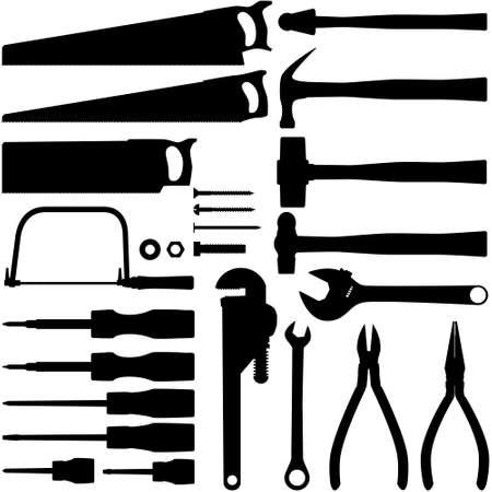 plumber with tools: Herramienta manual siluetas