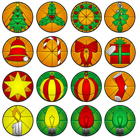 beveled: Xmas icons - beveled glass Illustration