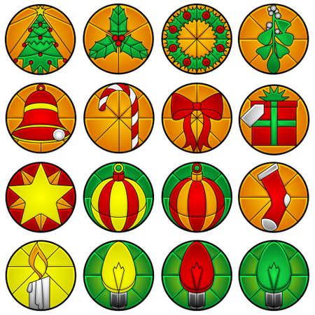 Xmas icons - beveled glass Ilustração