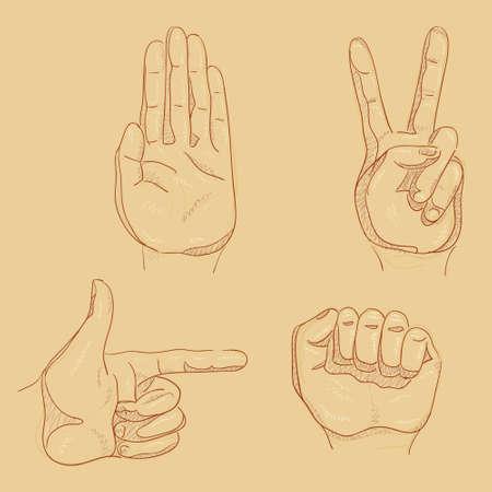 Vier hand schetsen 01 Stock Illustratie