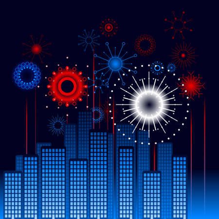 Retro city fireworks Vector