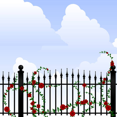Wrought iron and roses Vector
