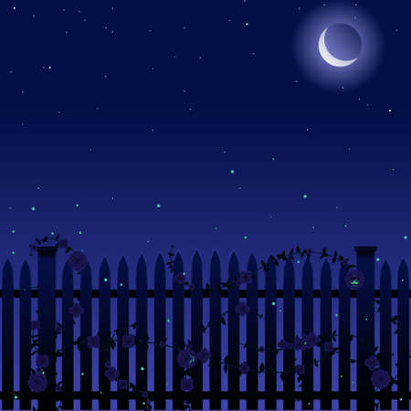 Picket fence with roses at night