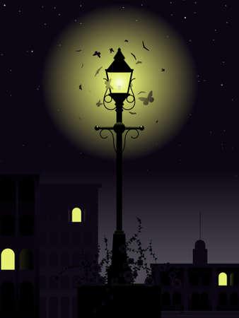 night: Night time streetlamp Illustration