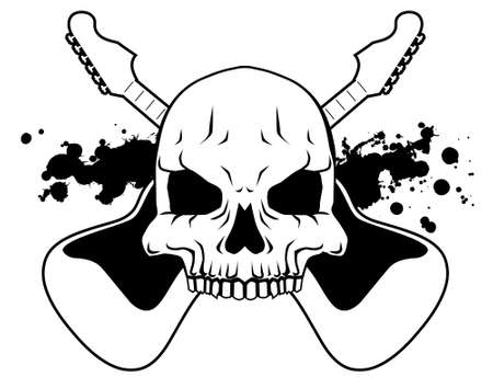 danger: Rock skull - black and white