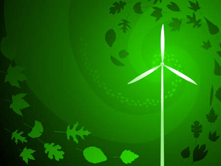 green power: Green wind power with leaves