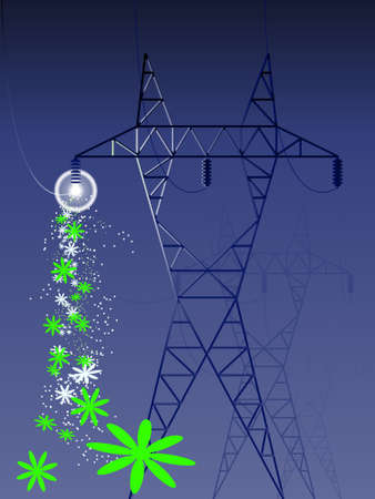 electrical tower: Potencia torre con flores - r�ster