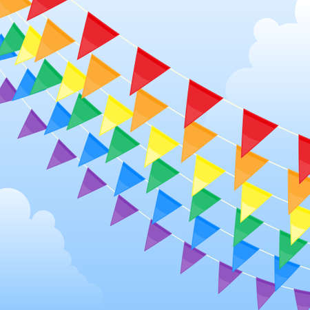 Rainbow pennants Vector