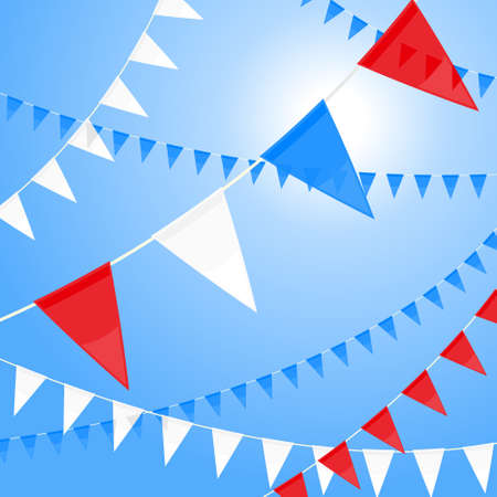 Red white and blue pennants Illustration