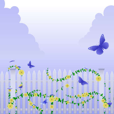 Butterflies and yellow roses Stock Vector - 4886250