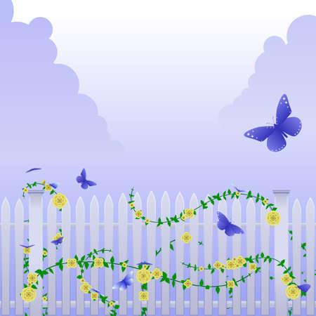 gele rozen: Vlinders en gele rozen
