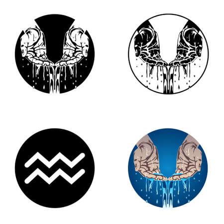 uranus: Aquarius zodiac sign Illustration