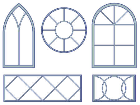 beveled: Decorative window blueprints Illustration