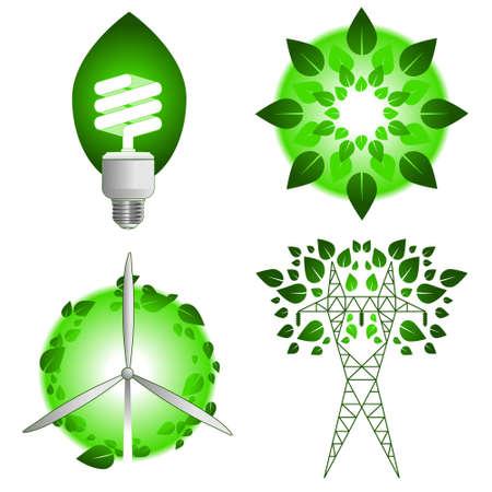 グリーン エネルギーのアイコン  イラスト・ベクター素材
