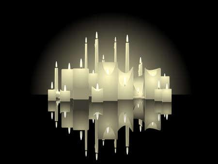 반사와 촛불 배경 일러스트