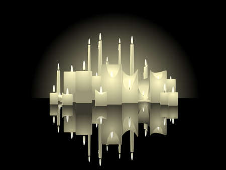 remembrance: Candle background with reflections  Illustration