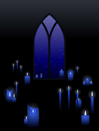 blue flame: Candles with a window
