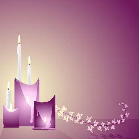 Candles and ivy Ilustração