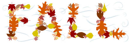 Fall text in leaves Vector