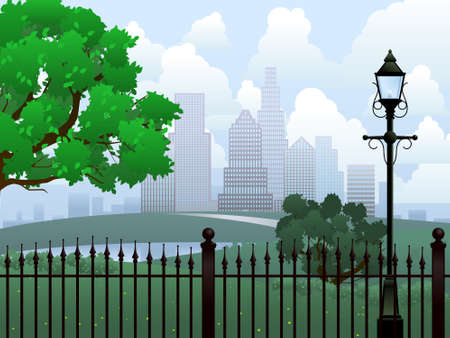 vector lamp: Cityscape summer park