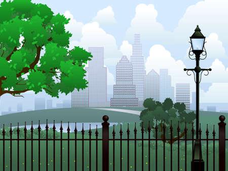 Cityscape summer park