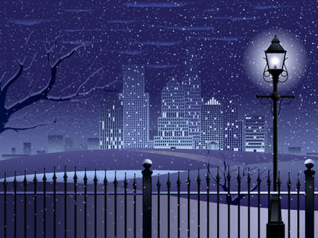Cityscape winter night Ilustracja